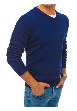 Pánsky módny sveter s véčkovým výstrihom v modrej farbe