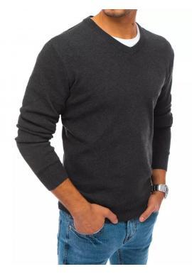 Tmavosivý módny sveter s véčkovým výstrihom pre pánov