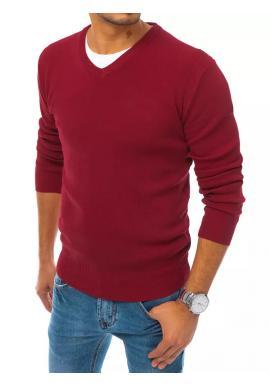Módny pánsky sveter bordovej farby s véčkovým výstrihom