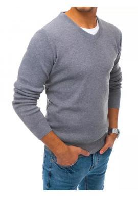 Pánske módne svetre s véčkovým výstrihom v sivej farbe