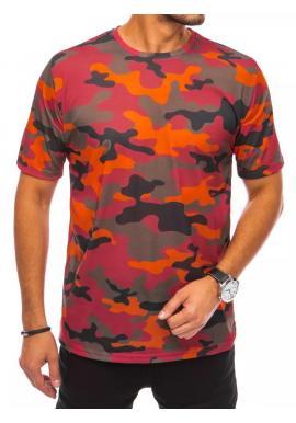 Maskáčové pánske tričko oranžovej farby s krátkym rukávom