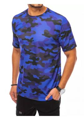 Pánske maskáčové tričko s krátkym rukávom v modrej farbe