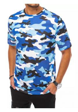 Maskáčové pánske tričko svetlomodrej farby s krátkym rukávom
