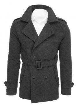 Pánsky dvojradový kabát s opaskom v tmavosivej farbe
