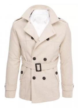 Dvojradový pánsky kabát béžovej farby s opaskom