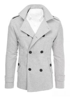 Svetlosivý dvojradový kabát s opaskom pre pánov