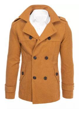 Pánsky dvojradový kabát s opaskom v hnedej farbe