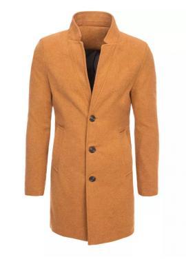 Dlhý pánsky jednoradový kabát hnedej farby