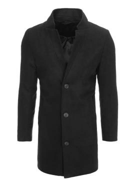 Čierny dlhý jednoradový kabát pre pánov
