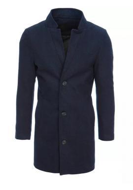 Dlhý pánsky jednoradový kabát tmavomodrej farby