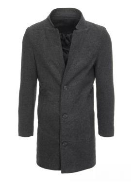 Tmavosivý dlhý jednoradový kabát pre pánov