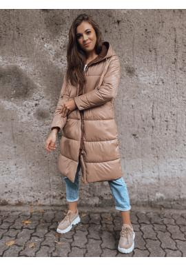 Obojstranná dámska dlhá bunda svetlohnedej farby s kapucňou