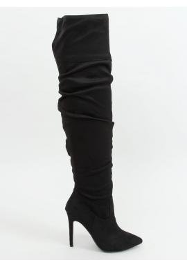 Čierne nariasené čižmy nad kolená so štíhlym opätkom pre dámy