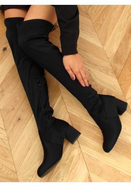 Dámske elastické čižmy nad kolená so širokým opätkom v čiernej farbe