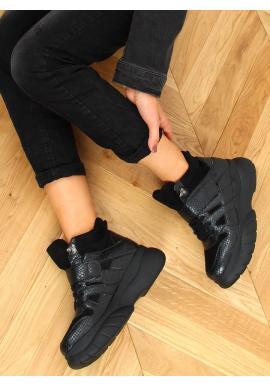 Čierne vysoké tenisky s motívom hadej kože pre dámy
