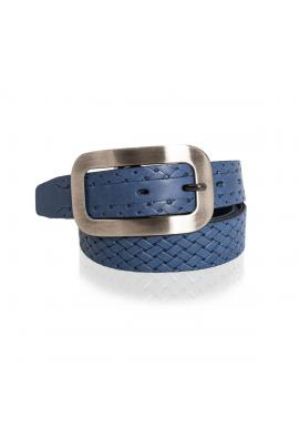 Modrý prepletaný kožený opasok pre dámy
