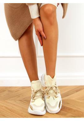 Členkové dámske tenisky béžovej farby s ponožkovým zvrškom