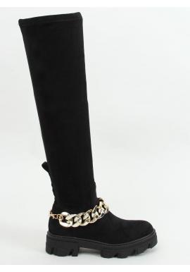 Čierne semišové čižmy nad kolená s retiazkou pre dámy