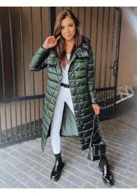 Dámska dlhá prešívaná bunda na zimu v zelenej farbe