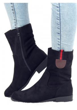 Semišové dámske čižmy čiernej farby s ozdobným pásikom