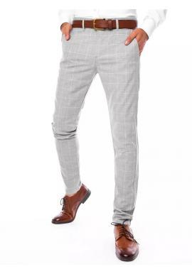 Elegantné pánske kockované nohavice svetlosivej farby