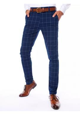 Pánske kockované nohavice v modrej farbe