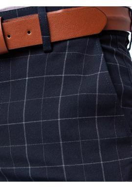 Elegantné pánske kockované nohavice tmavomodrej farby