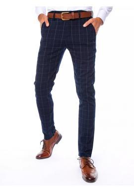 Pánske kockované nohavice v tmavomodrej farbe