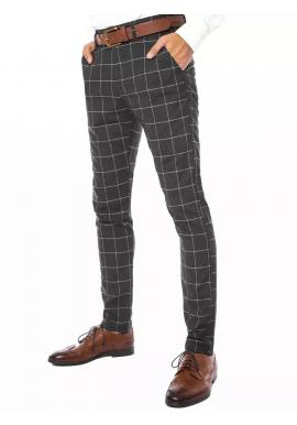 Tmavosivé elegantné nohavice s kockovaným vzorom pre pánov