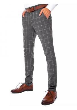 Sivé elegantné nohavice s kockovaným vzorom pre pánov