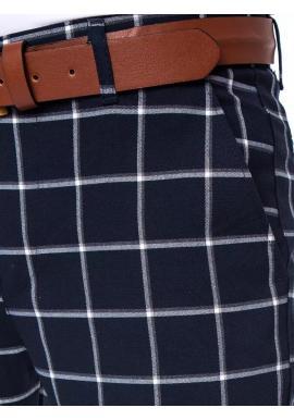 Elegantné pánske nohavice tmavomodrej farby so vzorom