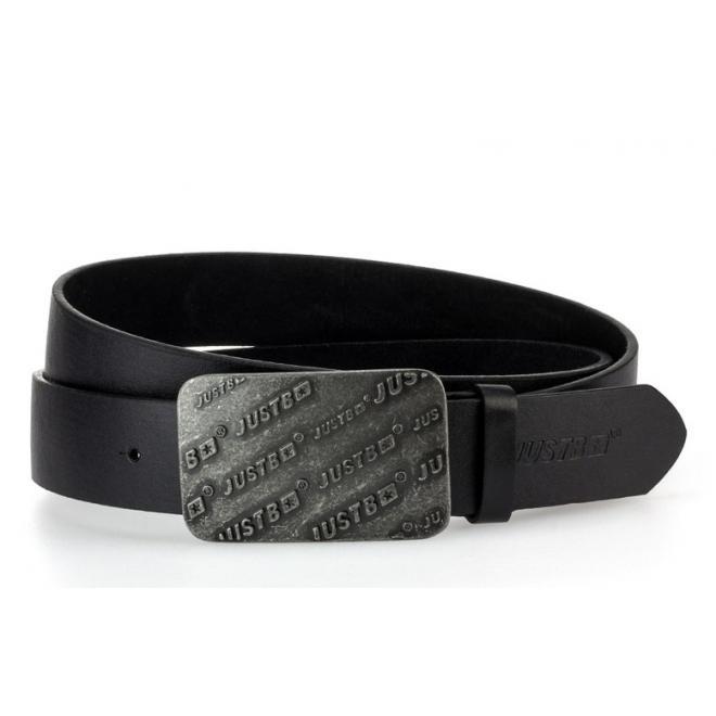 Čierny kožený opasok s kovovou prackou pre pánov