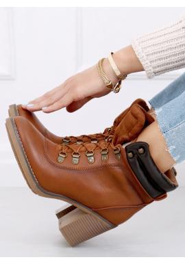 Hnedé šnurovacie čižmy na stabilnom podpätku pre dámy