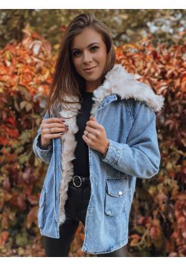 Dámska rifľová oversize bunda s kožušinou v modrej farbe