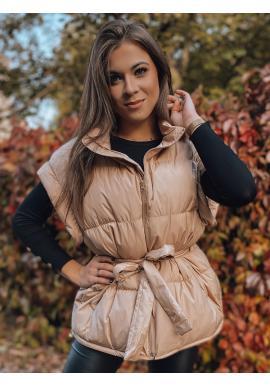 Štýlová dámska vesta béžovej farby s opaskom