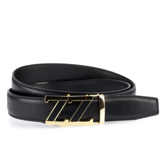 Opasok pre pánov v čiernej farbe so zlatou prackou