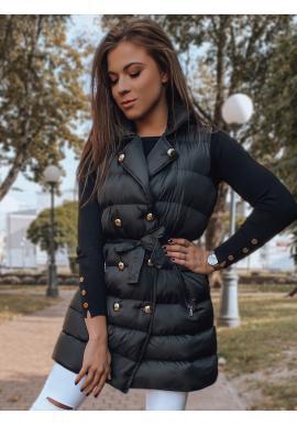 Čierna dvojradová vesta s viazaním v páse pre dámy
