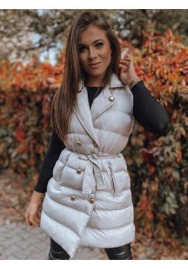 Dvojradová dámska vesta béžovej farby s viazaním v páse