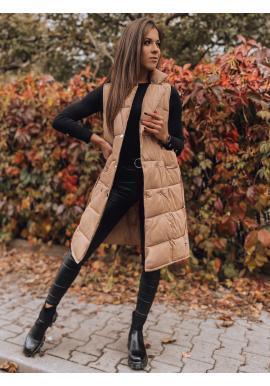Hnedá prešívaná vesta s dvojradovým zapínaním pre dámy