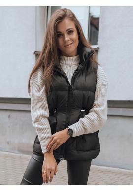 Prešívaná dámska vesta čiernej farby s reguláciou v páse