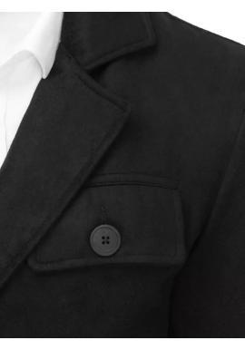 Pánsky dvojradový kabát s vreckom na hrudi v čiernej farbe