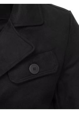 Dvojradový pánsky kabát čiernej farby s vreckom na hrudi