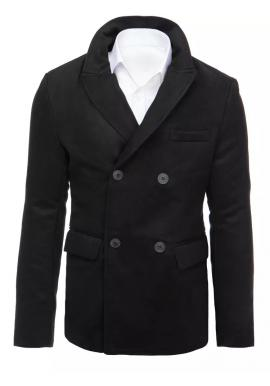 Čierny dvojradový kabát s ozdobnými gombíkmi pre pánov