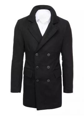 Pánsky dlhší dvojradový kabát s ozdobnými gombíkmi v čiernej farbe