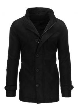 Zimný pánsky kabát čiernej farby so zapínaním na zips a gombíky
