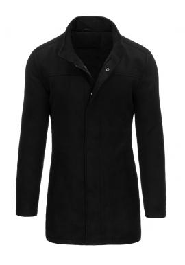 Čierny zimný kabát so zapínaním na zips a gombíky pre pánov
