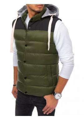 Pánska prešívaná vesta s teplákovou kapucňou v zelenej farbe