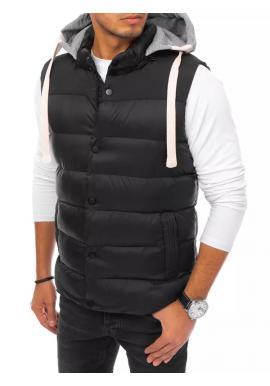 Prešívaná pánska vesta čiernej farby s teplákovou kapucňou