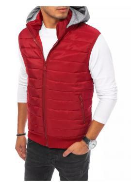 Bordová prešívaná vesta s teplákovou kapucňou pre pánov