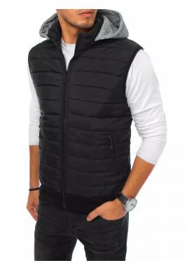 Pánske prešívané vesty s teplákovou kapucňou v čiernej farbe
